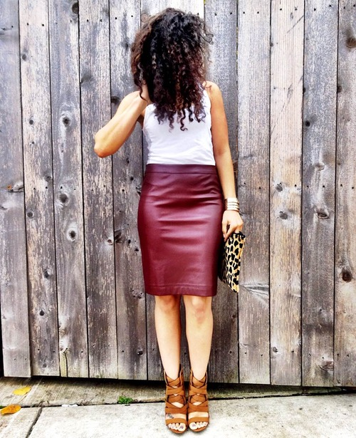 How to Wear a Wine Faux Leather Skirt