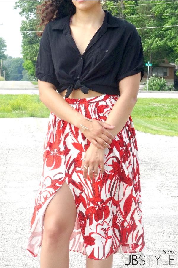 Mango Floral Midi Skirt Details
