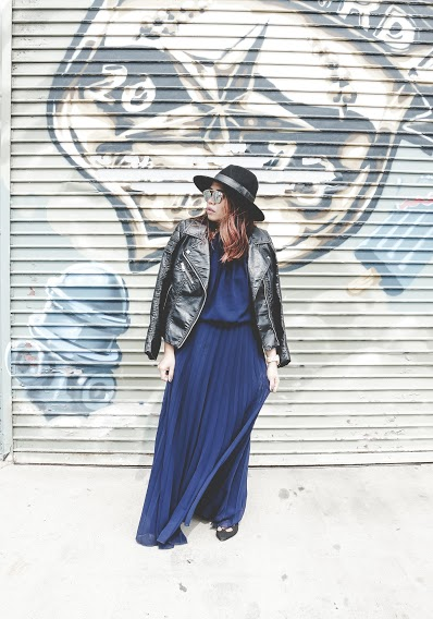 maxi-dress-leather-jacket-look-jc-penney-electric-pleat-dress
