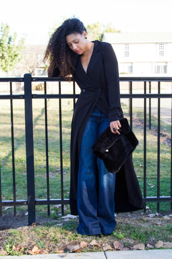 Forever 21 Wrap Dress with H&M Flare Jeans