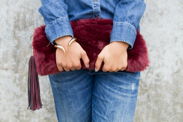 denim on denim asos fur clutch