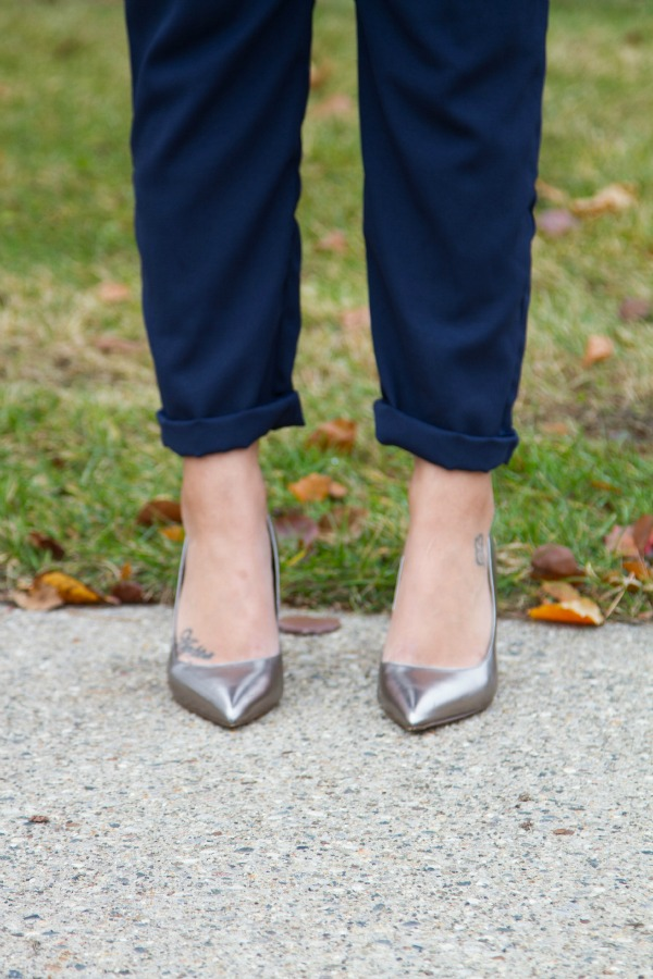 ASOS Office Holiday Outfit ALDO Metallic Heels