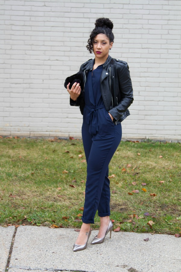 ASOS Office Holiday Outfit Navy Jumpsuit