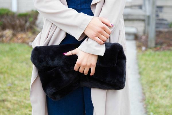 Fall Denim Jumpsuit ASOS Faux Fur Clutch