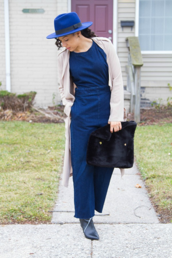Fall Denim Jumpsuit with Nasty Gal Trench