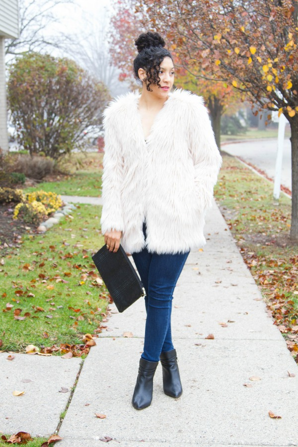H&M Casual Holiday Outfit Faux Fur Coat