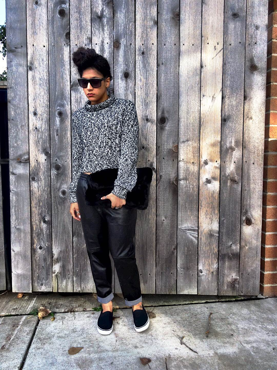 H&M Cropped Sweater with Leather Joggers