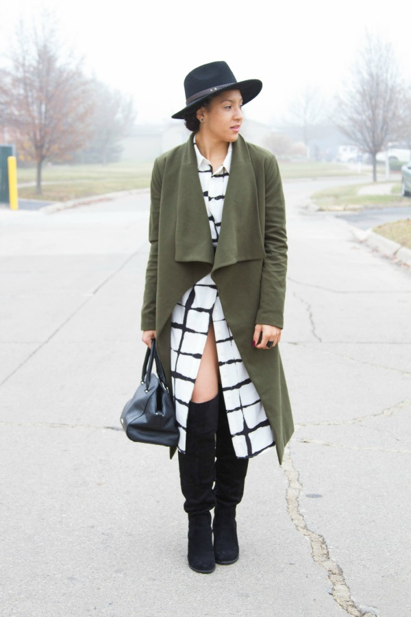 Nasty Gal Olive Coat Outfit