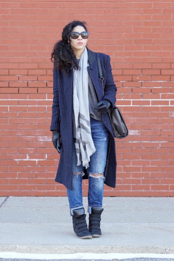 Pinstripe Winter Coat Lil Miss JB Style
