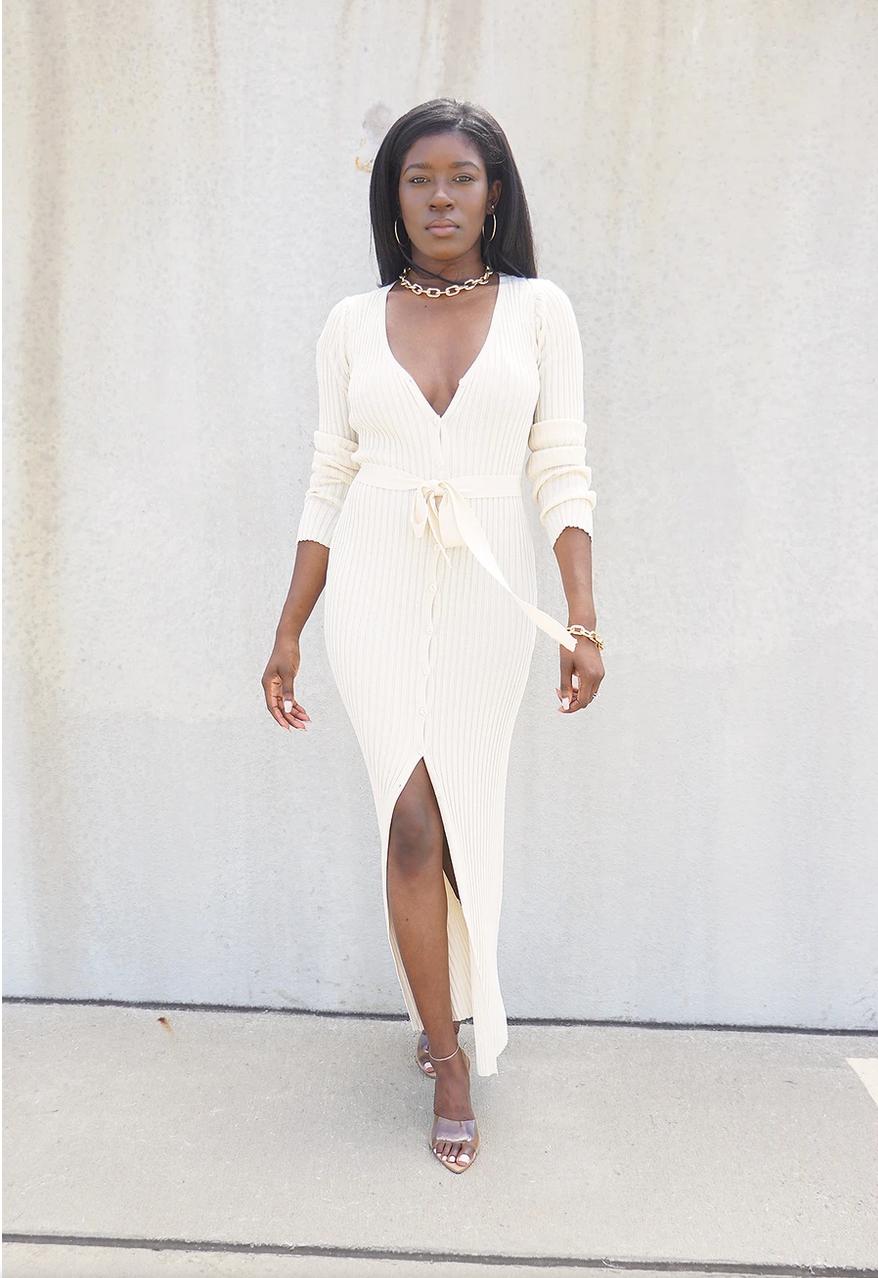 black blogger, black owned clothing brand, black owned business, black girl fashion, support black influencers, Button Up Belted Knit Dress Greige