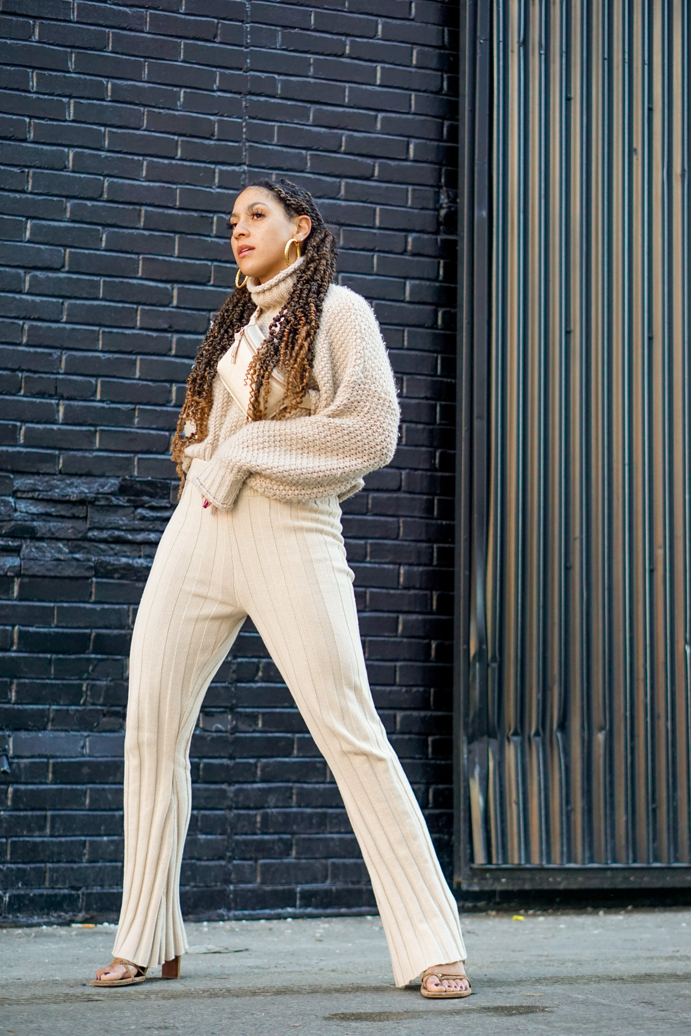 causal chic spring outfit idea, black fashion blogger, flare pants outfit street style, spring fashion black girl, spring fashion, how to wear knit flare pants