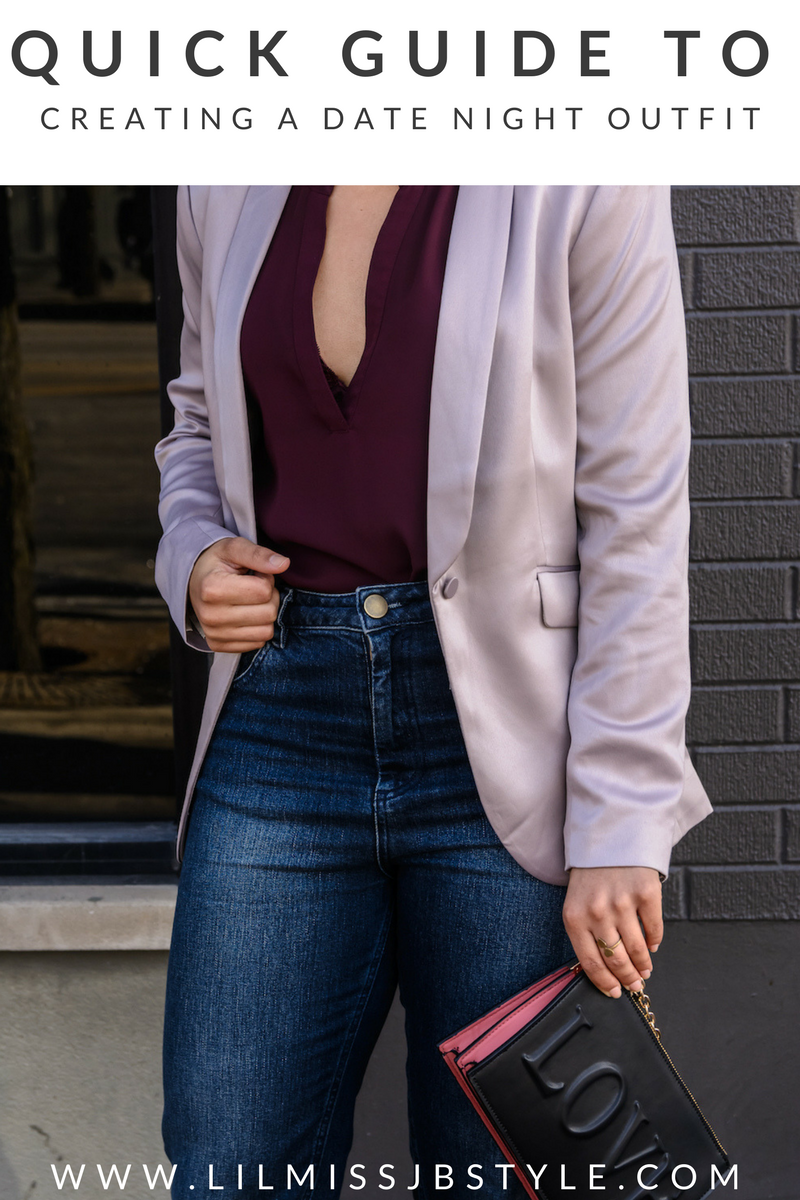casual chic date night outfit for young women, Valentine's day outfit, casual chic spring outfit, colorblock outfit