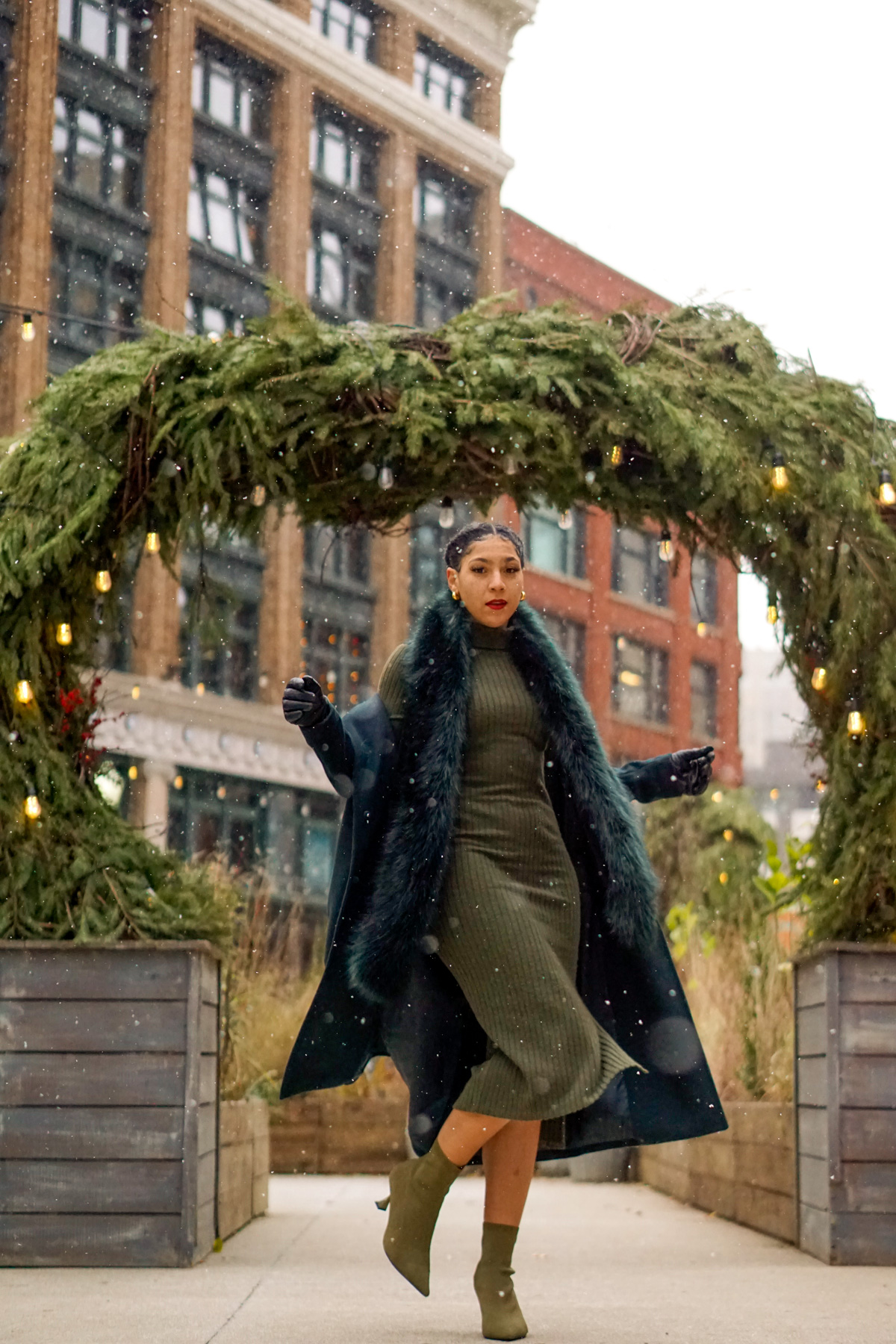 chic Christmas outfit idea for pear shaped women, black fashion blogger style outfits, Christmas holiday party outfit, green outfit ideas