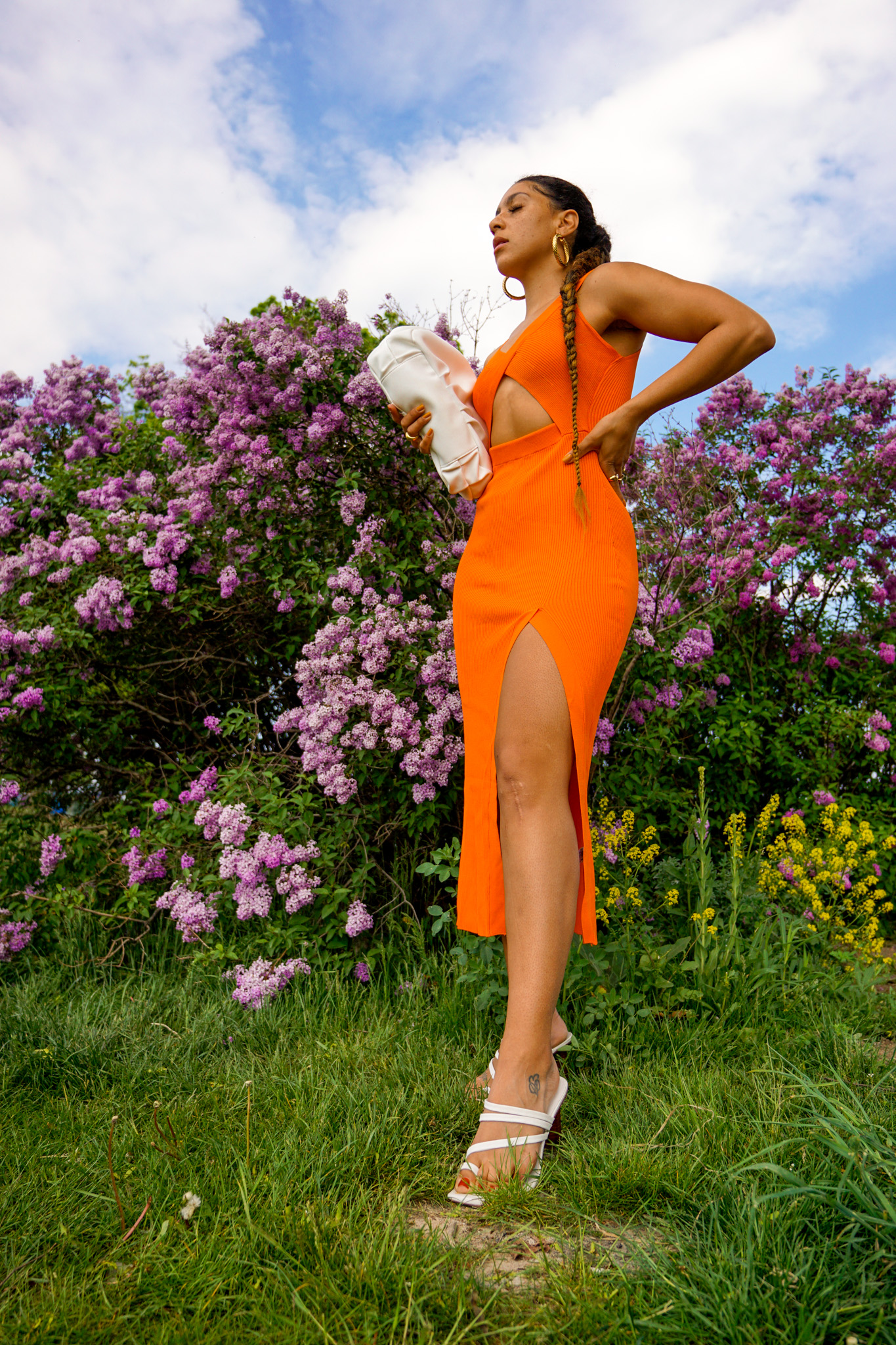 colorful summer dresses for pear shaped women, orange dress summer outfit idea, zara dress street style outfit, summer outfit black girl