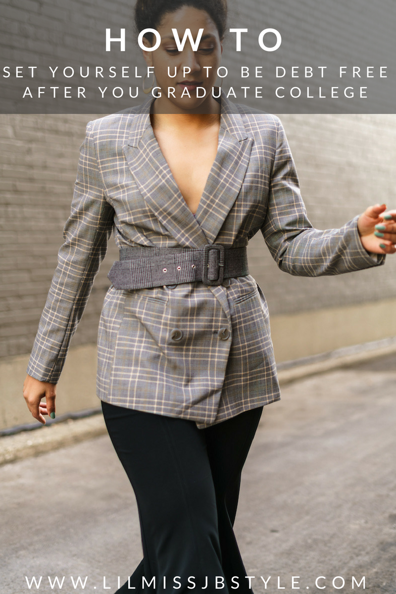 chic spring work outfit for young women, plaid blazer, black flared pants, chic spring fashion, how to pay off debt, debt free, reach financial freedom