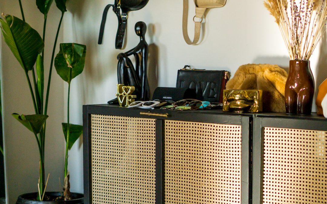 DIY Woven Cane Storage Cabinet