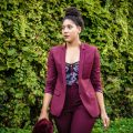 Fall Florals with a Burgundy Suit