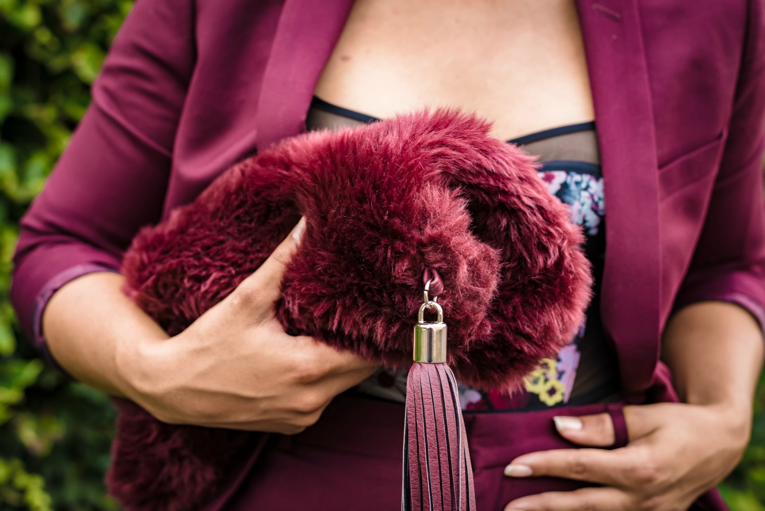fall-florals-bodysuit-burgundy-suit-lil-miss-jb-style-faux-fur-clutch