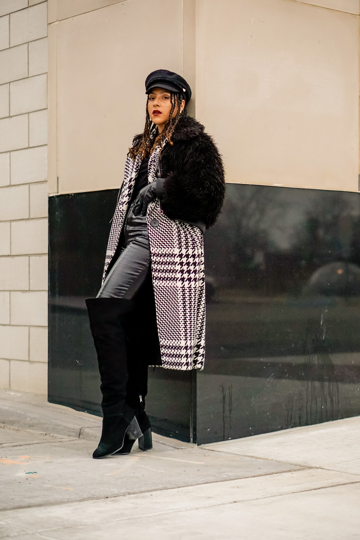 houndstooth coat outfit, black fashion blogger, houndstooth coat outfit street style, winter fashion black girl, spring fashion, ways to wear