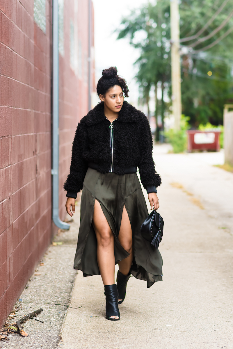 how to wear a satin skirt with slits
