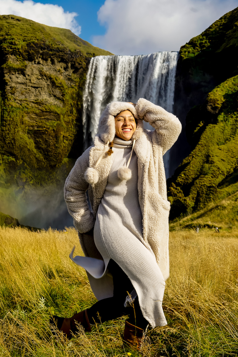 southern iceland things to do, southern iceland travel, fashion blogger tips articles, what to wear iceland september, southern iceland where to stay, iceland fashion, Skógafoss