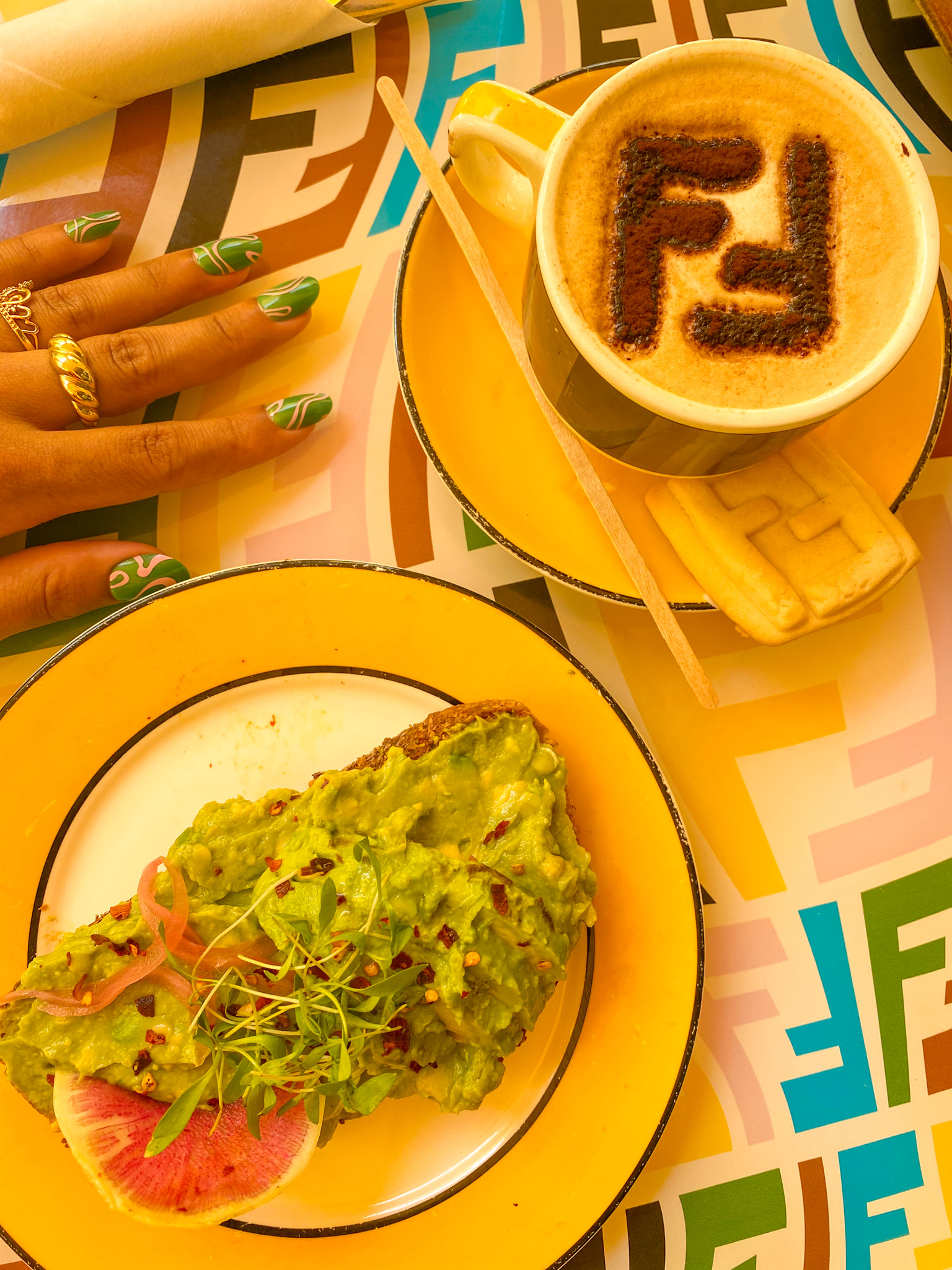 black girl solo travel guide to Miami Beach Florida, Fendi Caffe in Miami, Miami Beach travel guide, what to eat in Miami