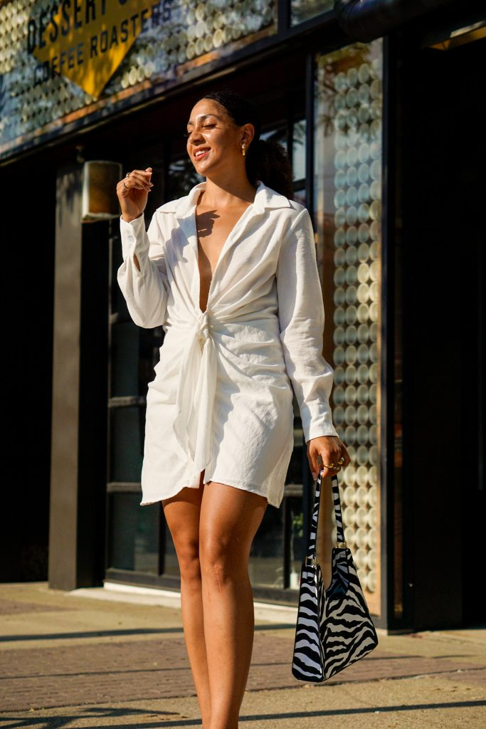 white summer dresses for pear shaped women, white dress summer outfit idea, white dress street style outfit, summer outfit black girl