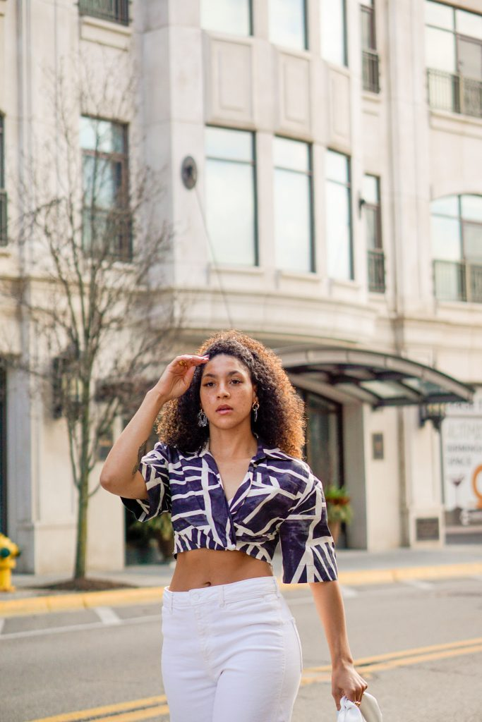 wrap front crop top outfit ideas, black lifestyle blogger, crop top outfit street style, spring outfit black girl, spring fashion, wrap top outfits black girl