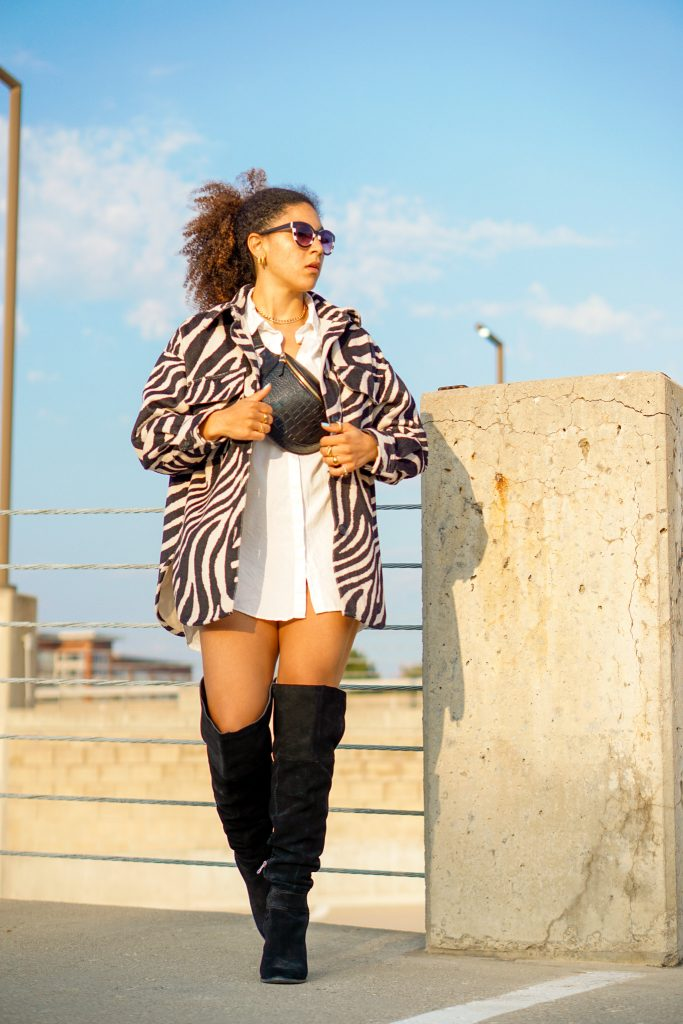 zebra print outfit ideas, black fashion blogger, zebra shacket outfit street style, spring fashion black girl, spring fashion, zebra print outfits black girl